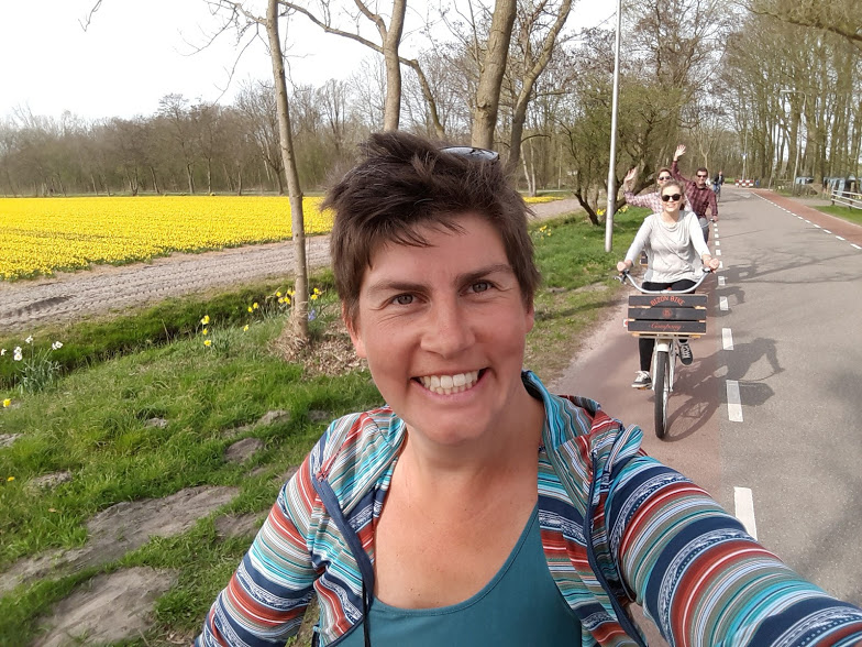 cycle selfie daffodil flower field challenge