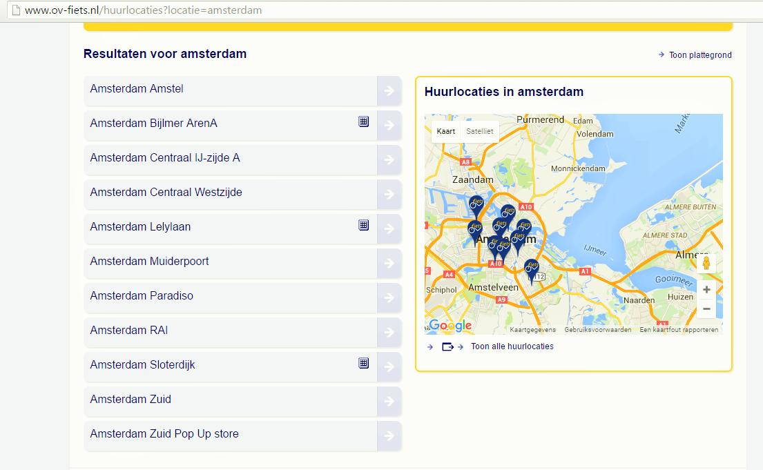 Amsterdam OV fiets rental locations