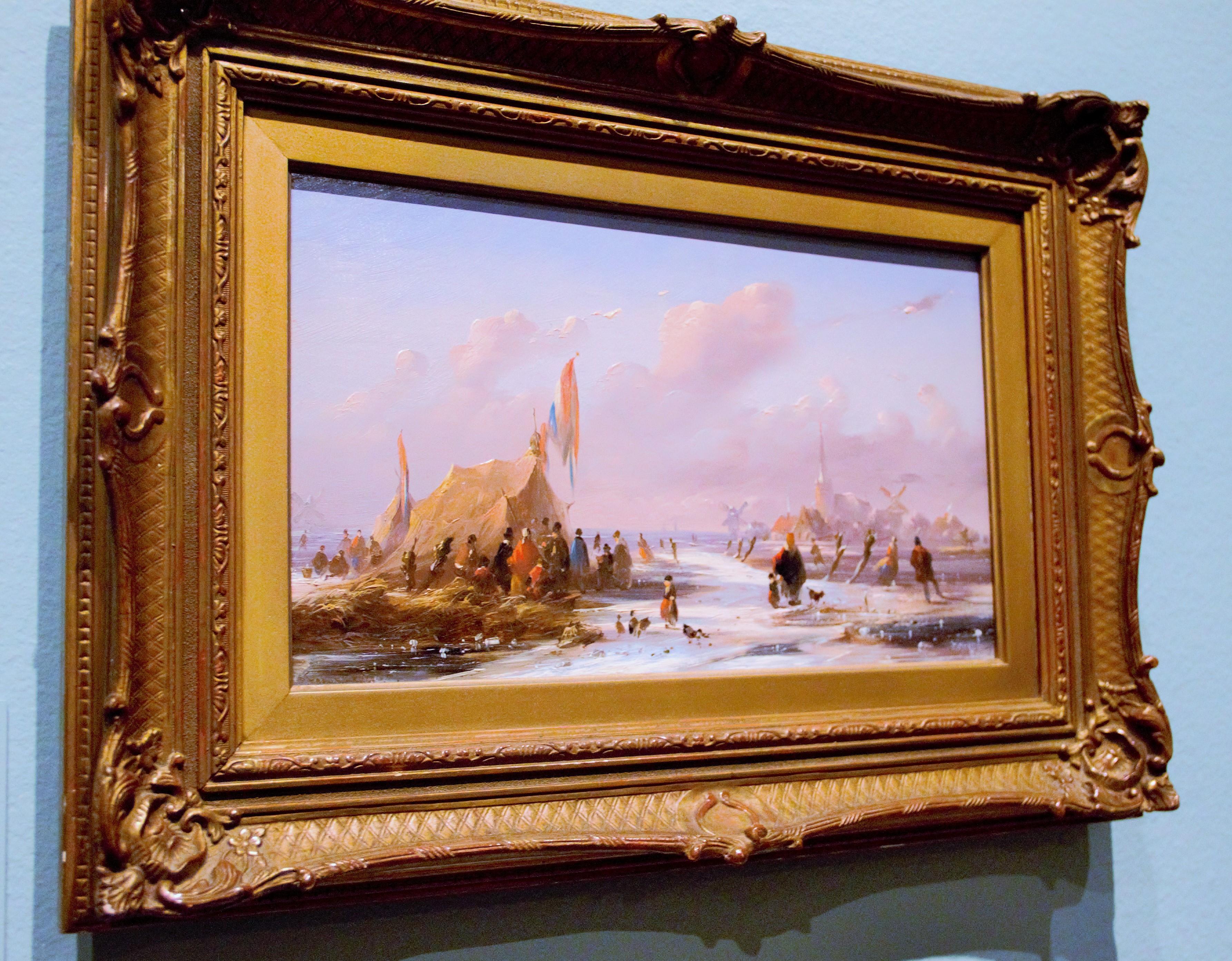 Johannes Tavernaat (1809-1881) Ice scene with koek-en-zopie tent